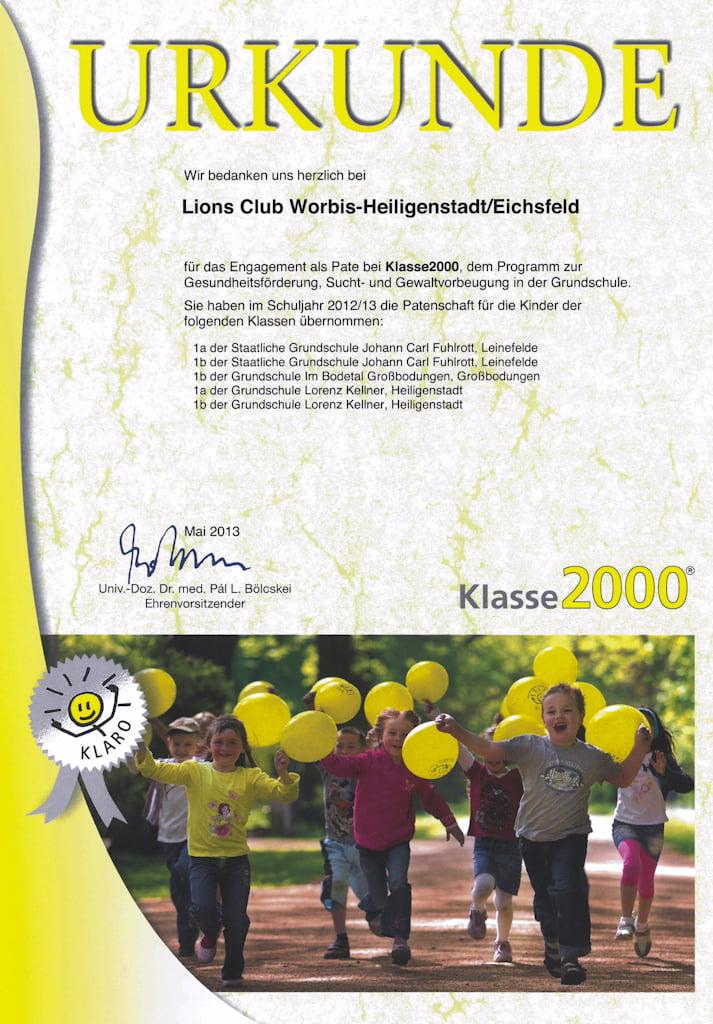 Urkunde patenschaft Klasse 2000